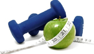 dumbells, an apple and a measuring tape representing health and nutrition